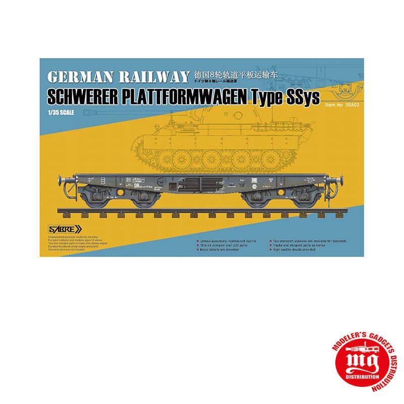 GERMAN RAILWAY SCHWERER PLATTFORMWAGEN TYPE SSYS SABRE 35A02