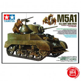 M5A1 U.S. LIGHT TANK  WITH FOUR FIGURES