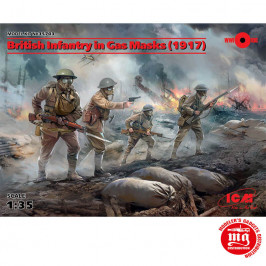 BRITISH INFANTRY IN GAS MASKS 1917 ICM 35703