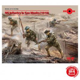 US INFANTRY IN GAS MASKS 1918 ICM 35704