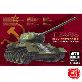 T-34/85 1944 FACTORY 183 FULL INTERIOR KIT AND CLEAR TURRET AND UPPER HULL PARTS AFV CLUB AF35S55