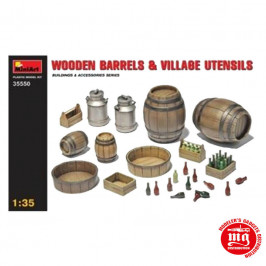 WOODEN BARRELS AND VILLAGE UTENSILS MINIART 35550
