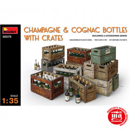 CHAMPAGNE AND COGNAC BOTTLES WITH CRATES MINIART 35575