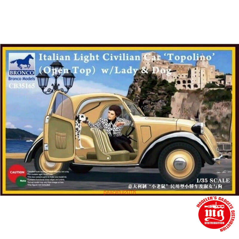 ITALIAN LIGHT CIVILIAN CAR OPEN TOP WITH LADY AND DOG BRONCO CB35165