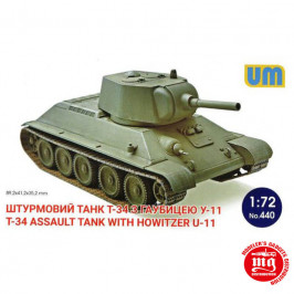 T-34 ASSAULT TANK WITH HOWITZER U-11 UNIMODELS 440