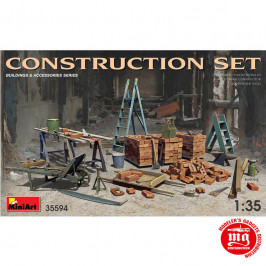 CONSTRUCTION SET LADDERS, TABLE, BUCKETS, BRICKS, CART, ANVIL, BEAMS, JACK STAND AND TOOLS MINIART 35594