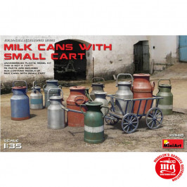 MILK CANS WITH SMALL CART MINIART 35580