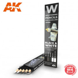 WEATHERING PENCILS FOR MODELLING BLACK AND WHITE SHADING AND EFFECTS SET AK10039