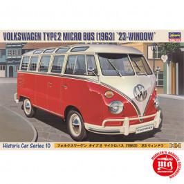 VOLKSWAGEN TYPE 2 MICRO BUS 1963 23 WINDOW HASEGAWA 21210