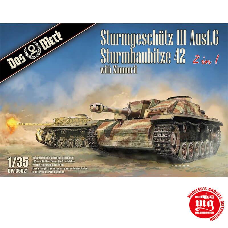 STURMGESCHÜTZ III AUSF G STURMHAUBITZE 42 2 IN 1 WITH ZIMMERIT DAS WERK DW35021