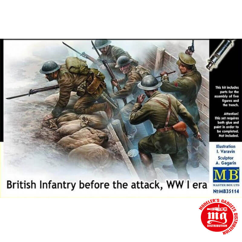 BRITISH INFANTRY BEFORE THE ATTACK WWI MASTER BOX MB35114