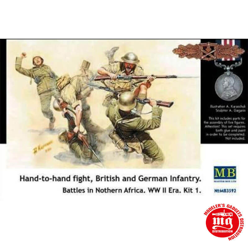 HAND TO HAND FIGHT BRITISH AND GERMAN INFANTRY BATTLES IN NORTHERN AFRICA WWII KIT 1 MASTER BOX MB3592