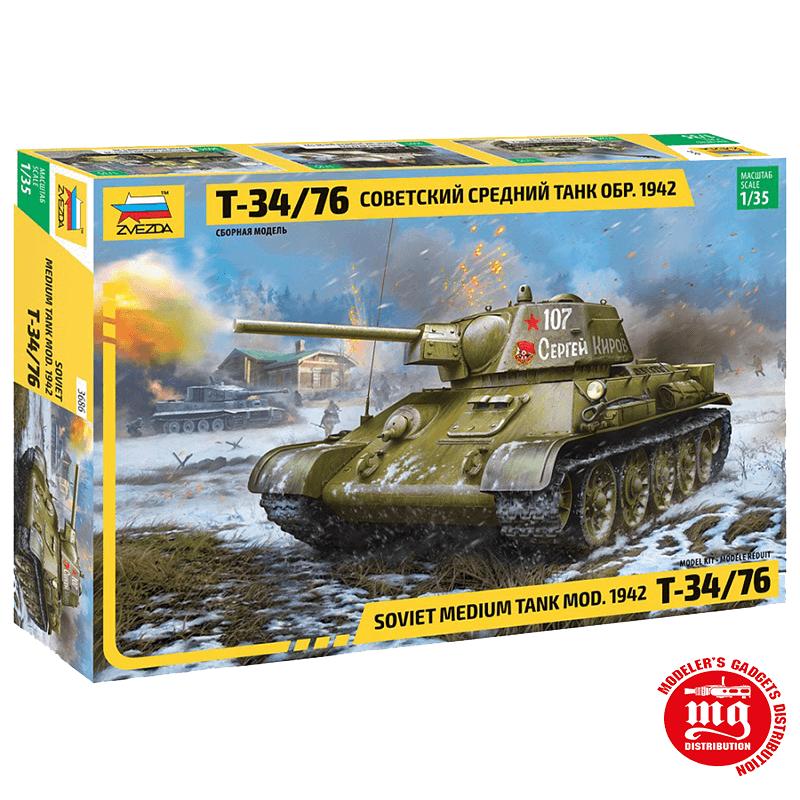 T-34/76 MODELO 1942 TANQUE MEDIO SOVIETICO ZVEZDA 3686 ESCALA 1:35