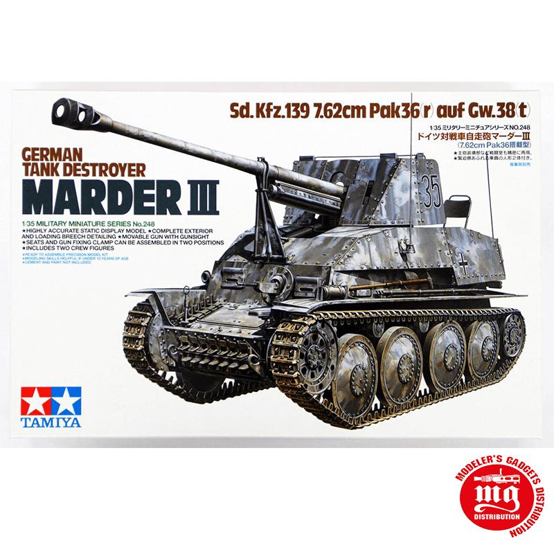 DESTRUCTOR DE TANQUES ALEMAN MARDER III Sd.Kfz.139 7.62cm PAK36r AUF Gw.38t TAMIYA 35248