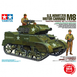 U.S. HOWITZER M8 MOTOR CARRIAGE AWAITING ORDERS SET WITH 3 FIGURES TAMIYA 35312