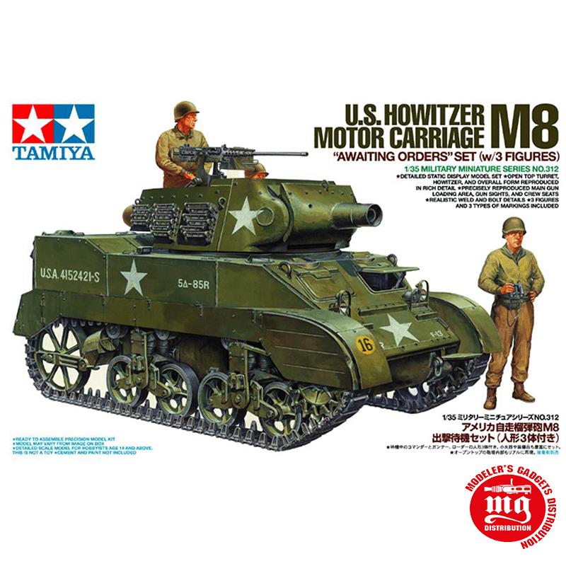 U.S. HOWITZER M8 MOTOR CARRIAGE AWAITING ORDERS SET WITH 3 FIGURES TAMIYA 35312