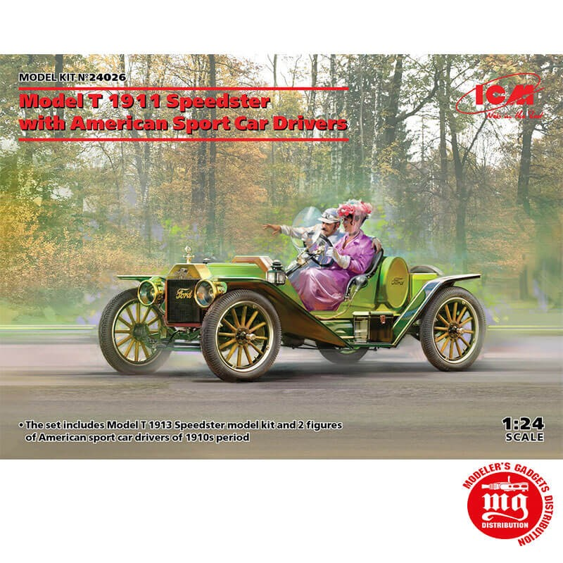 1/24 MODEL T 1913 SPEEDSTER WITH AMERICAN SPORT CAR DRIVERS ICM 24026