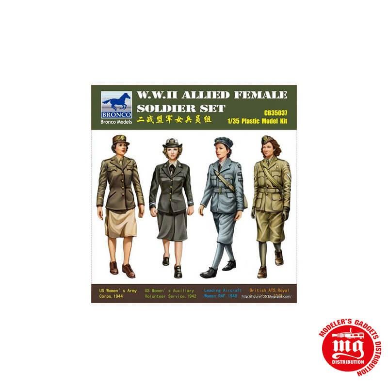 1/35 WWII ALLIED FEMALE SOLDIER SET CONJUNTO DE SOLDADOS FEMENINAS ALIADAS DE LA SEGUNDA GUERRA MUNDIAL BRONCO CB35037