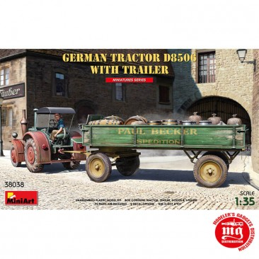 GERMAN TRACTOR D8506 WITH TRAILER MINIART 38038 ESCALA 1/35