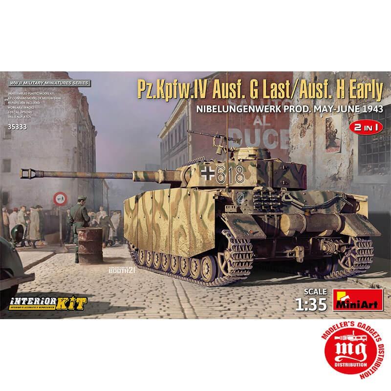 Pz.Kpfw.IV Ausf.G TARDIO/Ausf.H TEMPRANO NIBELUNGENWERK PRODUCCION MAYO JUNIO DOS EN UNO CON INTERIORES 1943 MINIART 35333