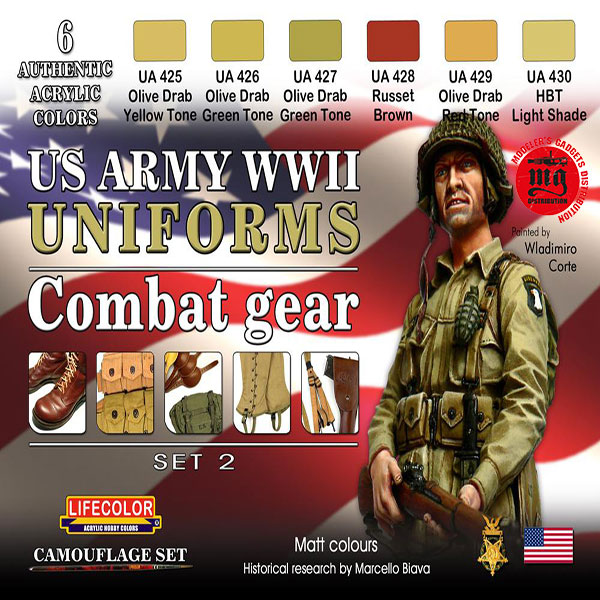 US ARMY WWII UNIFORMS COMBAT GEAR SET 2 LIFECOLOR CS18