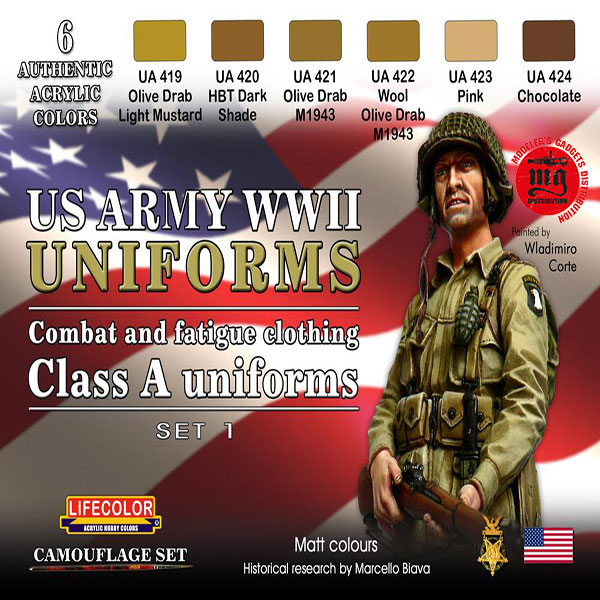 US ARMY WWII UNIFORMS COMBAT AND FATIGUE CLOTHING CLASS A UNIFORMS SET 1 LIFECOLOR CS17