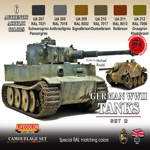 LIFECOLOR WWII GERMAN TANKS SET 2 LIFECOLOR CS03