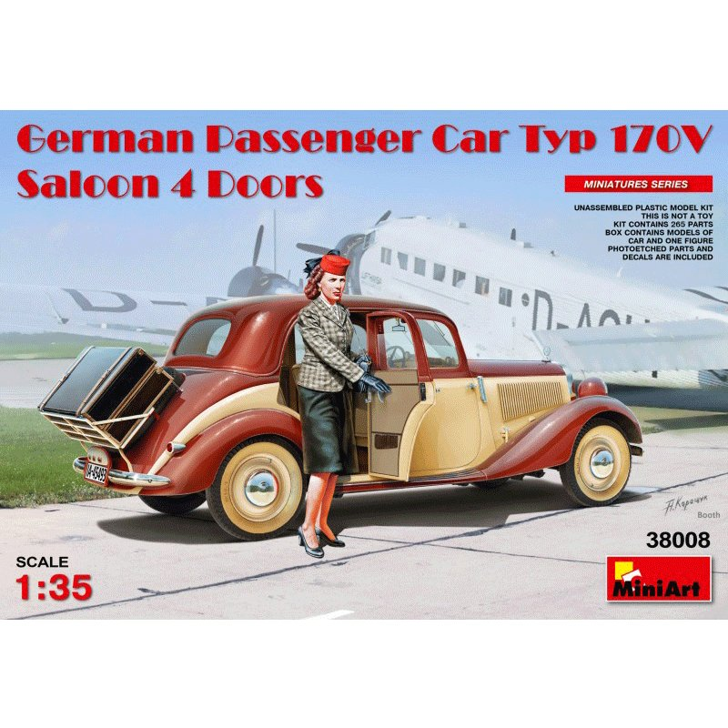 MINIART-1-35-GERMAN-PASSENGER-CAR-TYPE-170V-4-DOOR