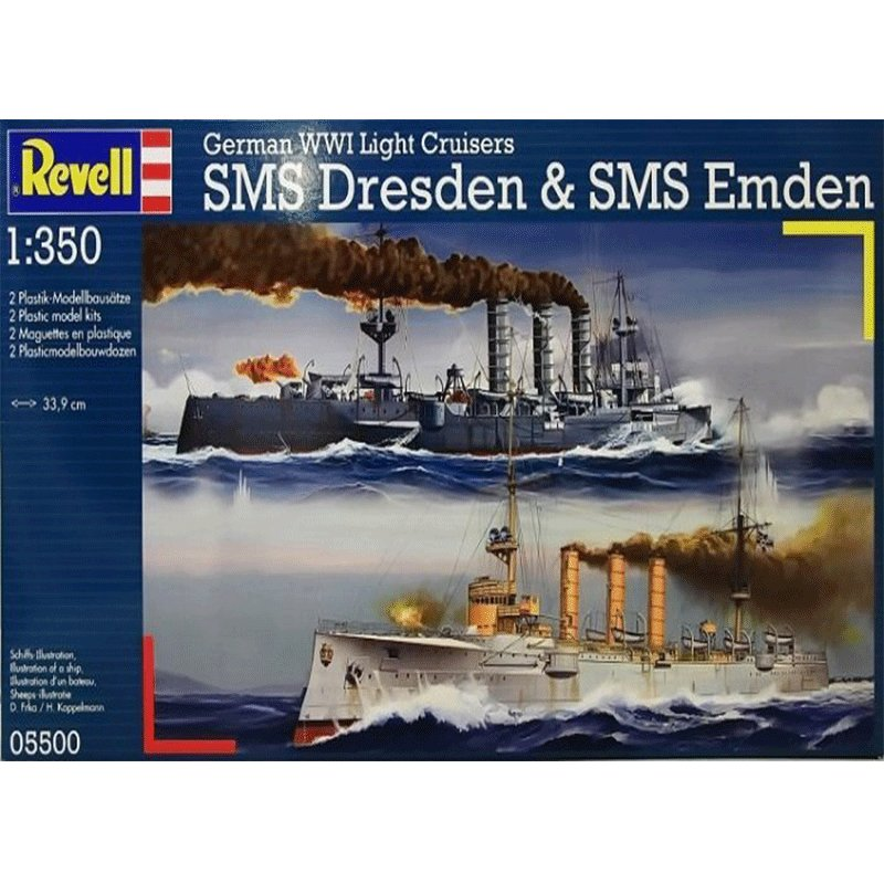 REVELL-1-350-WWI-CRUISERS-SMS-DRESDEN&SMS-EMDEN