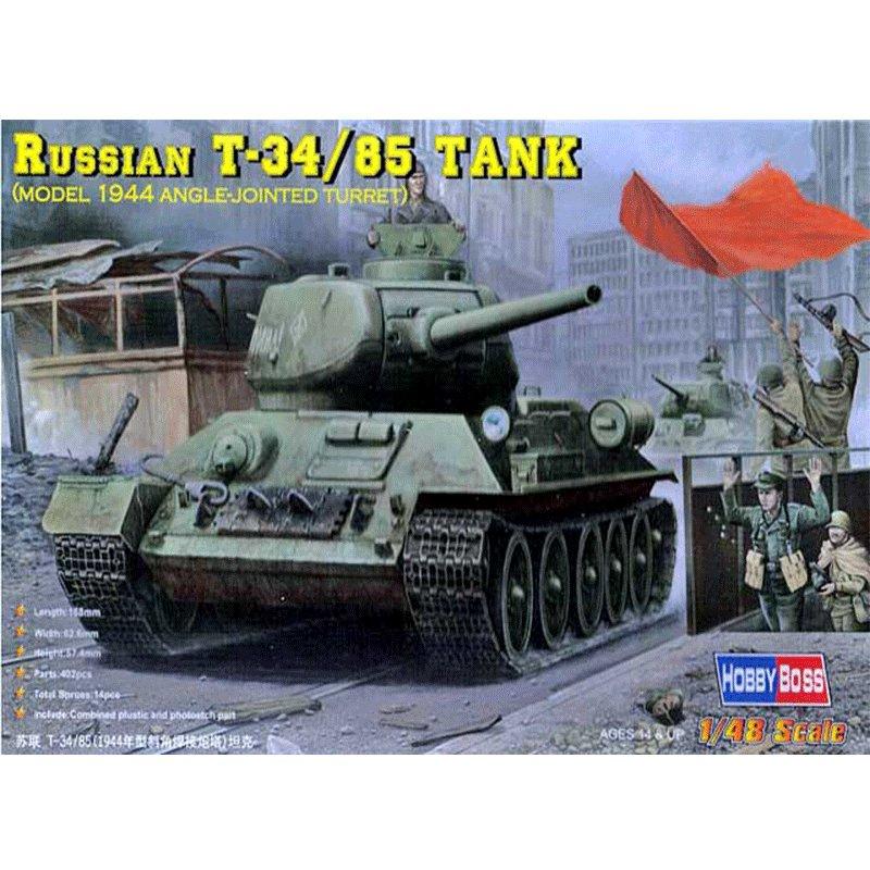 RUSSIAN T-34/85 TANK MODEL 1944 ANGLE JOINTED TURRET ESCALA 1:48 HOBBYBOSS 84809