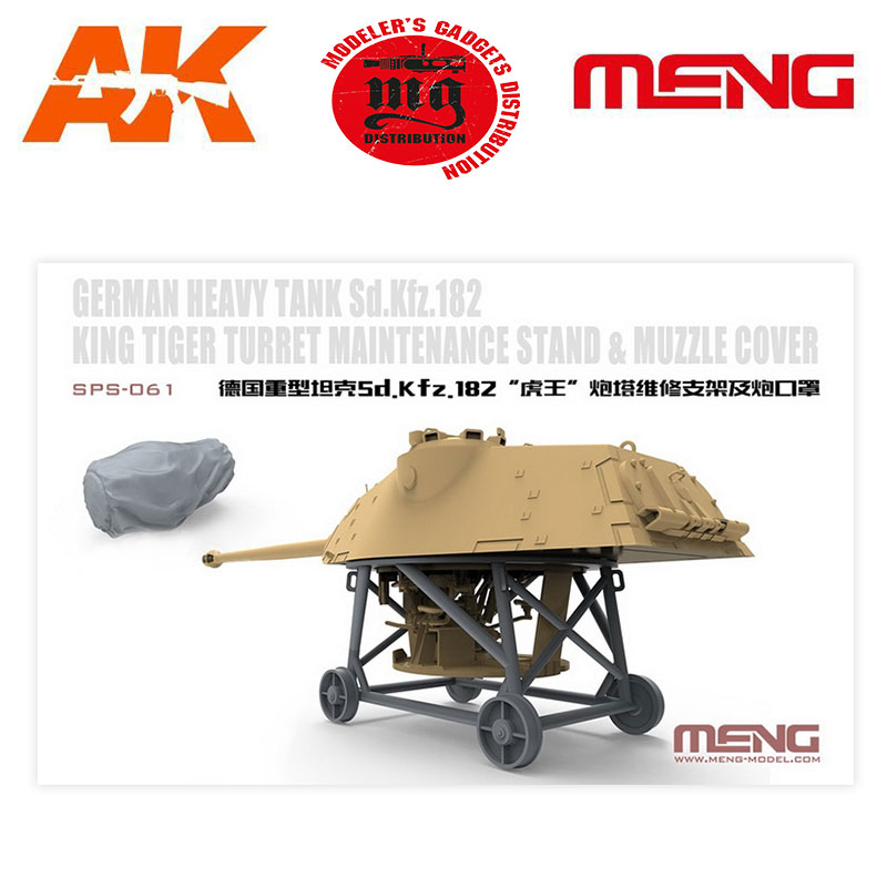 GERMAN-HEAVY-TANK-SD.KFZ.182-KING-TIGER-TURRET-MAINTENANCE-STAND-AND-MUZZLE-COVER MENG MM SPS-061